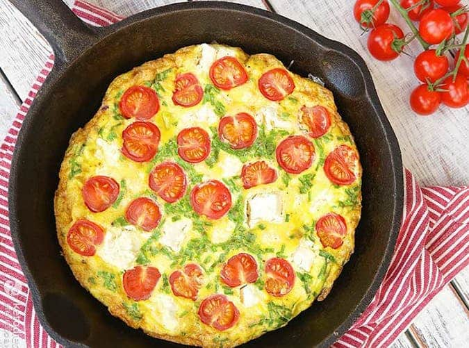 Keto Frittata with Tomatoes and Cheese