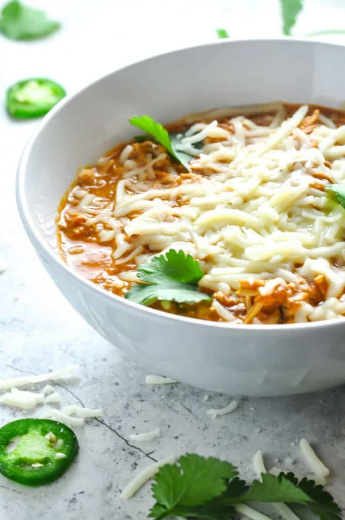 cheap keto shredded chicken chili