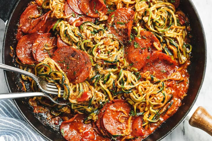 Pizza Zucchini Noodles with Marinara Sauce & Pepperoni