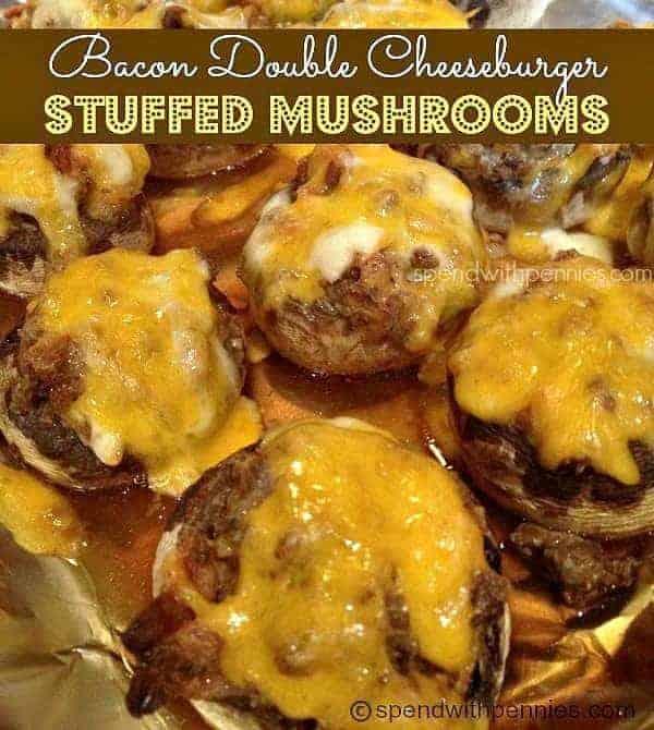 Bacon Double Cheeseburger Stuffed Mushrooms
